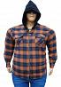 Тёплая байковая рубашка в клетку с карманами и капюшоном